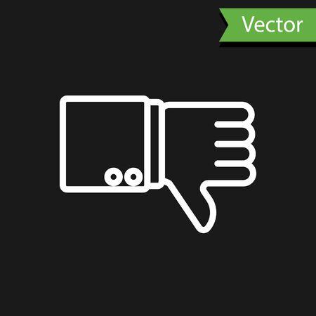 Illustration pour White line Dislike icon isolated on black background. Vector Illustration - image libre de droit