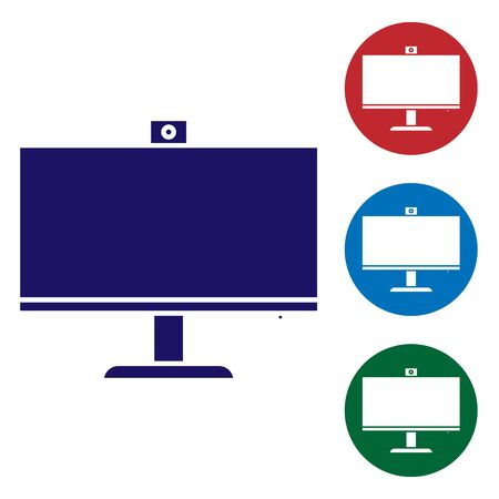 Illustration pour Blue Computer monitor icon isolated on white background. PC component sign. Set color icons in circle buttons. Vector Illustration - image libre de droit