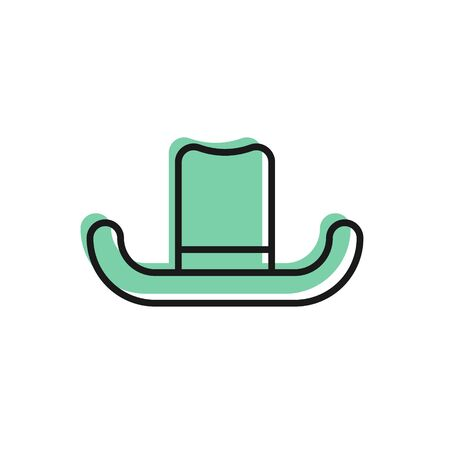 Illustration for Black line Man hat with ribbon icon isolated on white background. Vector Illustration - Royalty Free Image