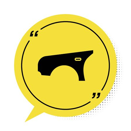 Illustration for Black Car fender icon isolated on white background. Yellow speech bubble symbol. Vector Illustration - Royalty Free Image