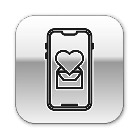 Illustration pour Black line Mobile phone with heart icon isolated on white background. Valentines day. Silver square button. Vector Illustration - image libre de droit