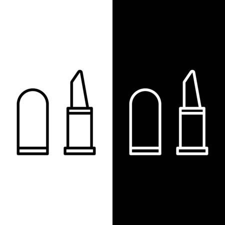 Illustration pour Set line Lipstick icon isolated on black and white background. Vector Illustration - image libre de droit