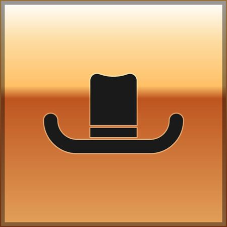 Illustration for Black Man hat with ribbon icon isolated on gold background. Vector Illustration - Royalty Free Image