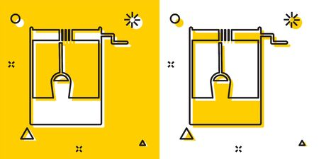 Illustration for Black Well with a bucket and drinking water icon isolated on yellow and white background. Random dynamic shapes. Vector Illustration - Royalty Free Image