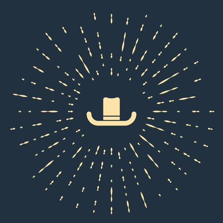 Illustration for Beige Man hat with ribbon icon isolated on blue background. Abstract circle random dots. Vector Illustration - Royalty Free Image