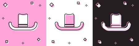 Illustration for Set Man hat with ribbon icon isolated on pink and white, black background. Vector Illustration - Royalty Free Image