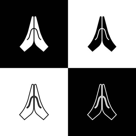 Illustration pour Set Hands in praying position icon isolated on black and white background. Prayer to god with faith and hope. Vector Illustration - image libre de droit