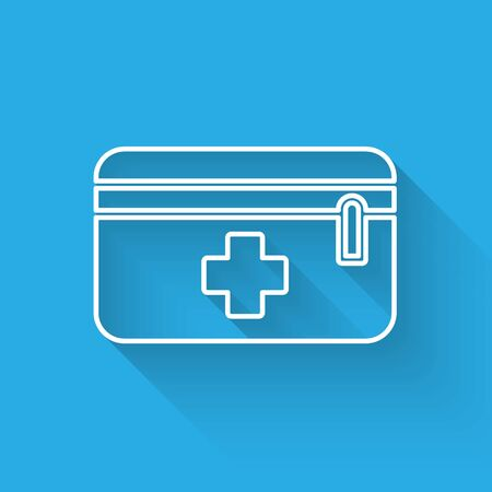 Illustration pour White line First aid kit icon isolated with long shadow. Medical box with cross. Medical equipment for emergency. Healthcare concept. Vector Illustration - image libre de droit