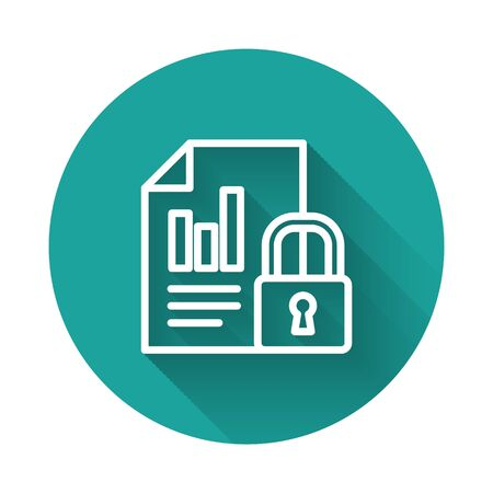 Illustration pour White line Document and lock icon isolated with long shadow. File format and padlock. Security, safety, protection concept. Green circle button. Vector Illustration - image libre de droit