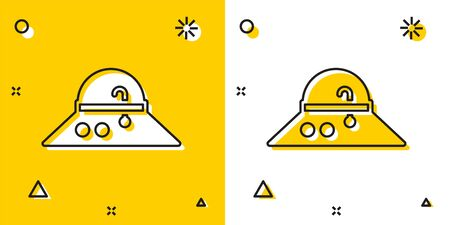 Illustration for Black Fisherman hat icon isolated on yellow and white background. Random dynamic shapes. Vector - Royalty Free Image