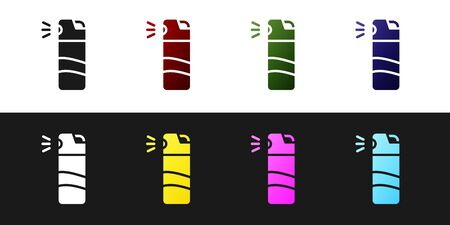 Set Pepper spray icon isolated on black and white background. OC gas. Capsicum self defense aerosol. Vector.