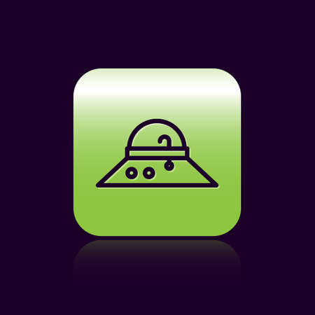 Illustration for Black line Fisherman hat icon isolated on black background. Green square button. Vector. - Royalty Free Image