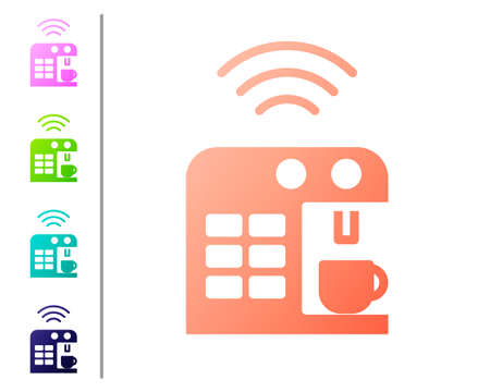 Illustration pour Coral Smart coffee machine system icon isolated on white background. Internet of things concept with wireless connection. Set color icons. Vector - image libre de droit