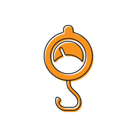 Orange Spring scale icon isolated on white background. Balance for weighing. Determination of weight. Vector
