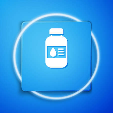 Illustration pour White Printer ink bottle icon isolated on blue background. Blue square button. Vector - image libre de droit