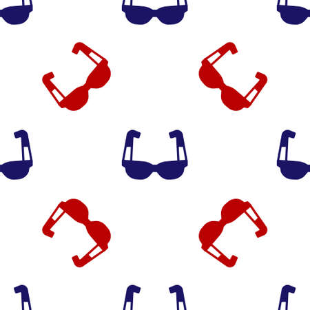 Blue and red Sport cycling sunglasses icon isolated seamless pattern on white background. Sport glasses icon. Vector