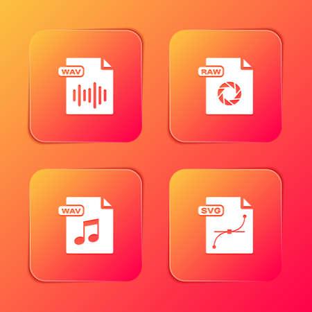 Illustration pour Set WAV file document, RAW, and SVG icon. Vector - image libre de droit