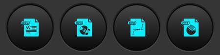 Illustration pour Set DOC file document, MP3, SVG and PPT icon. Vector - image libre de droit