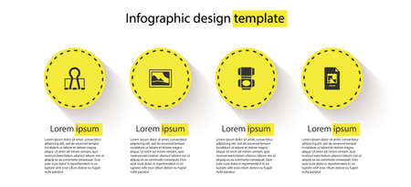 Ilustración de Set Binder clip, Picture landscape, Carton cardboard box and File document. Business infographic template. Vector - Imagen libre de derechos