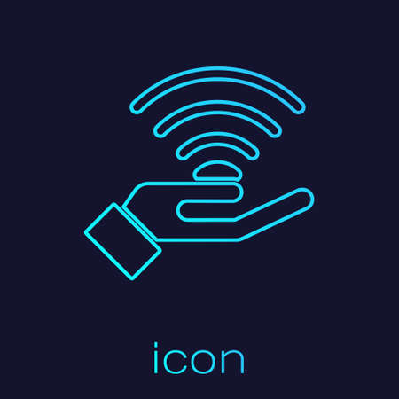Illustration pour Turquoise line 5G new wireless internet wifi connection icon isolated on blue background. Global network high speed connection data rate technology. Vector - image libre de droit