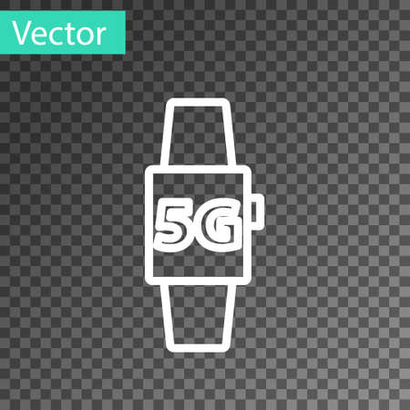 White line Smart watch 5G new wireless internet wifi icon isolated on transparent background. Global network high speed connection data rate technology. Vector