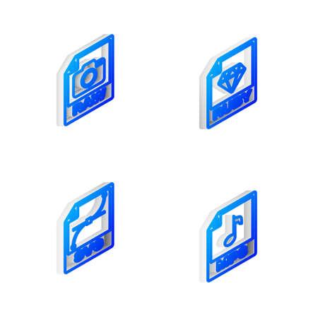 Illustration pour Set Isometric line RUBY file document, RAW, SVG and MP3 icon. Vector - image libre de droit