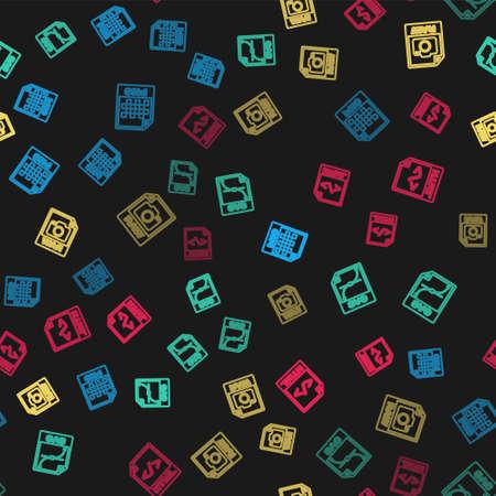 Illustration pour Set line PNG file document, SVG, RAW and HTML on seamless pattern. Vector - image libre de droit