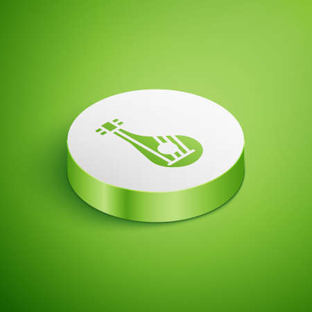 Isometric Ukrainian traditional musical instrument bandura icon isolated on green background. White circle button. Vector