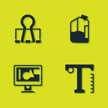 Ilustración de Set Binder clip, Text, Computer monitor screen and Printer ink bottle icon. Vector - Imagen libre de derechos