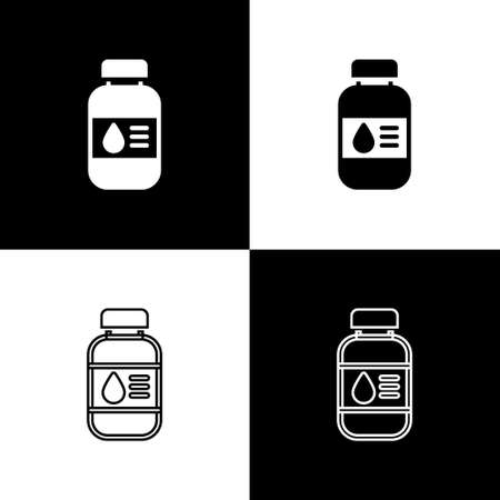 Illustration pour Set Printer ink bottle icon isolated on black and white background. Vector - image libre de droit