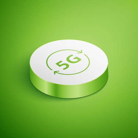 Illustration pour Isometric 5G new wireless internet wifi connection icon isolated on green background. Global network high speed connection data rate technology. White circle button. Vector - image libre de droit