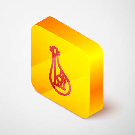 Isometric line Ukrainian traditional musical instrument bandura icon isolated on grey background. Yellow square button. Vector