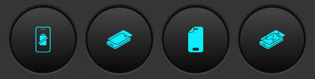 Ilustración de Set Smartphone battery charge, Glass screen protector, and Mobile with broken icon. Vector - Imagen libre de derechos