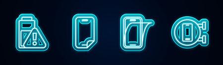 Ilustración de Set line Smartphone battery charge, Glass screen protector, and Phone repair service. Glowing neon icon. Vector - Imagen libre de derechos