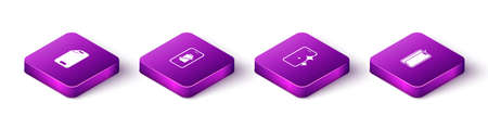 Ilustración de Set Isometric Glass screen protector, Smartphone battery charge, and icon. Vector - Imagen libre de derechos