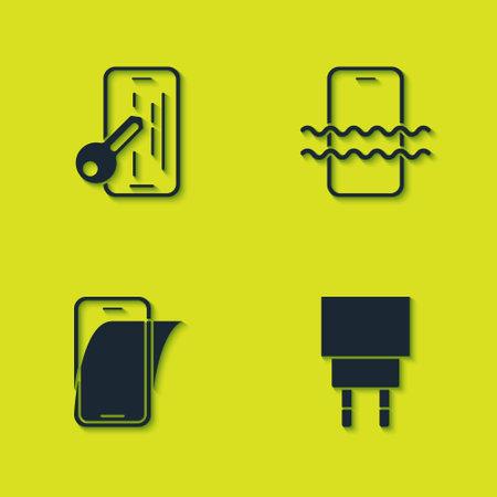 Ilustración de Set Glass screen protector, Charger, and Waterproof phone icon. Vector - Imagen libre de derechos