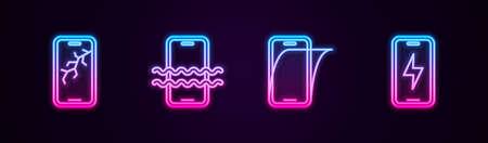 Ilustración de Set line Mobile with broken screen, Waterproof phone, Glass protector and charging battery. Glowing neon icon. Vector - Imagen libre de derechos