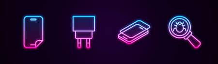 Ilustración de Set line Glass screen protector, Charger, and System bug. Glowing neon icon. Vector - Imagen libre de derechos