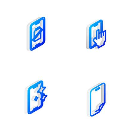 Ilustración de Set Isometric line Phone repair service, Smartphone battery charge, Glass screen protector and icon. Vector - Imagen libre de derechos