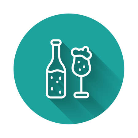 Illustration pour White line Beer bottle and glass icon isolated with long shadow background. Alcohol Drink symbol. Green circle button. Vector - image libre de droit