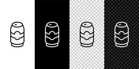 Illustration pour Set line Beer can icon isolated on black and white,transparent background. Vector - image libre de droit