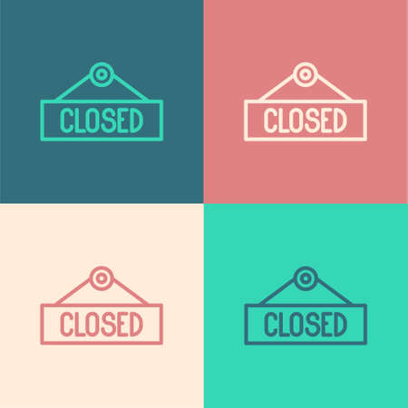 Illustration pour Pop art line Hanging sign with text Closed icon isolated on color background. Business theme for cafe or restaurant. Vector Illustration - image libre de droit