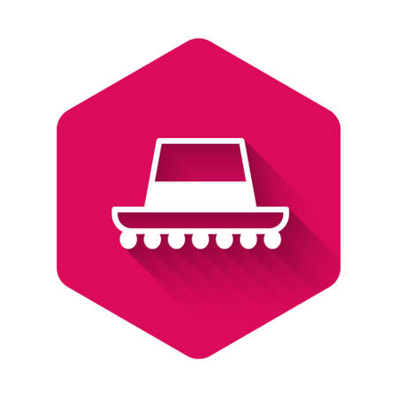 Illustration for White Traditional spanish hat icon isolated with long shadow. Pink hexagon button. Vector - Royalty Free Image
