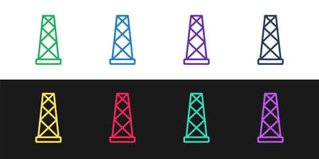 Illustration pour Set line Antenna icon isolated on black and white background. Radio antenna wireless. Technology and network signal radio antenna. Vector - image libre de droit