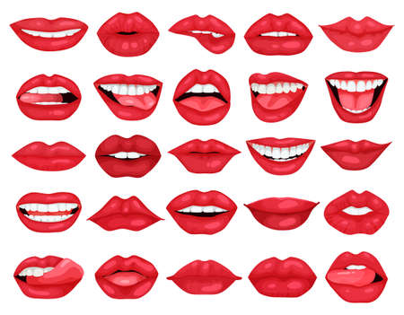 Illustration for Female lip vector cartoon set icon. Vector illustration smile on white background. Isolated cartoon set icon female lip. - Royalty Free Image