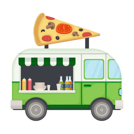 Illustration for Food truck vector icon.Cartoon vector icon isolated on white background food truck. - Royalty Free Image