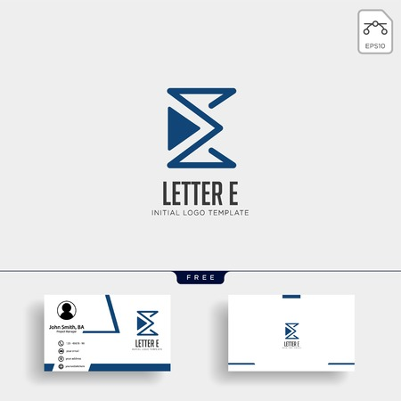 letter E monoline creative logo template vector illustration business card