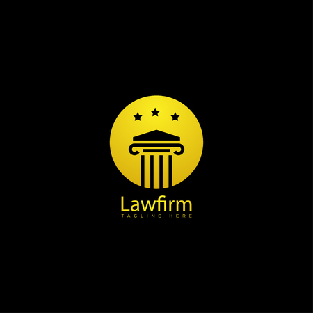 pilar lawfirm logo with gold luxury vector icon isolated: Royalty