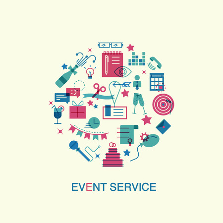 Illustration pour Thin line and flat icons of events and special occasions organization, catering service agency, marketing agency. website elements. - image libre de droit