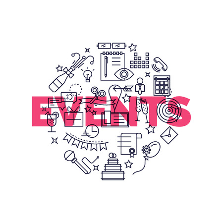 Flat design graphic event marketing concept, website elements. Special occasions organization, catering service, marketing agency.